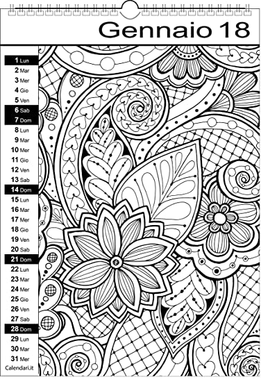 Estremamente Calendario 2018 da colorare MANDALA: Amazon.it: Cancelleria e  YK95