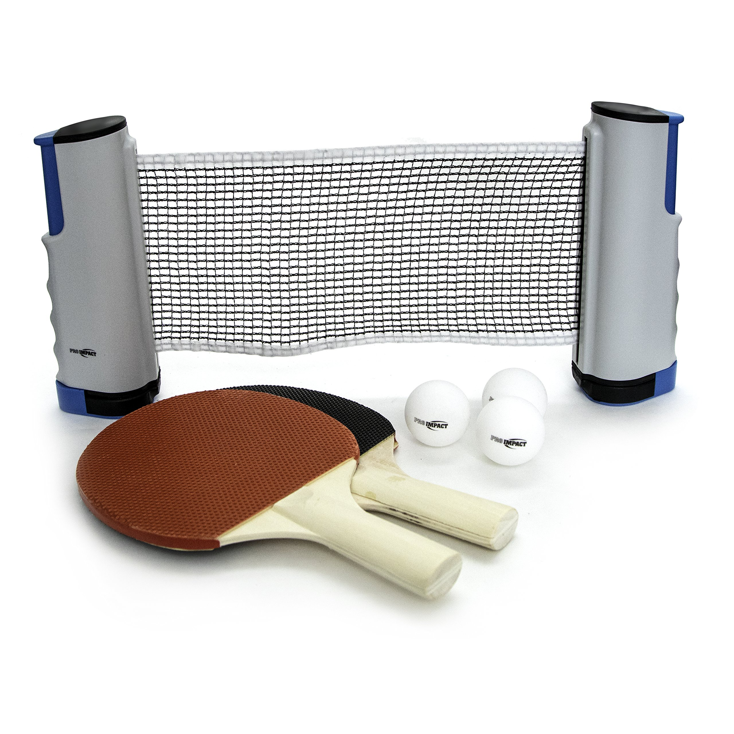 Pro Impact Table Tennis Ping Pong to Go set- Includes 2 Paddles, Balls, Portable Net and a Mesh Carry Bag