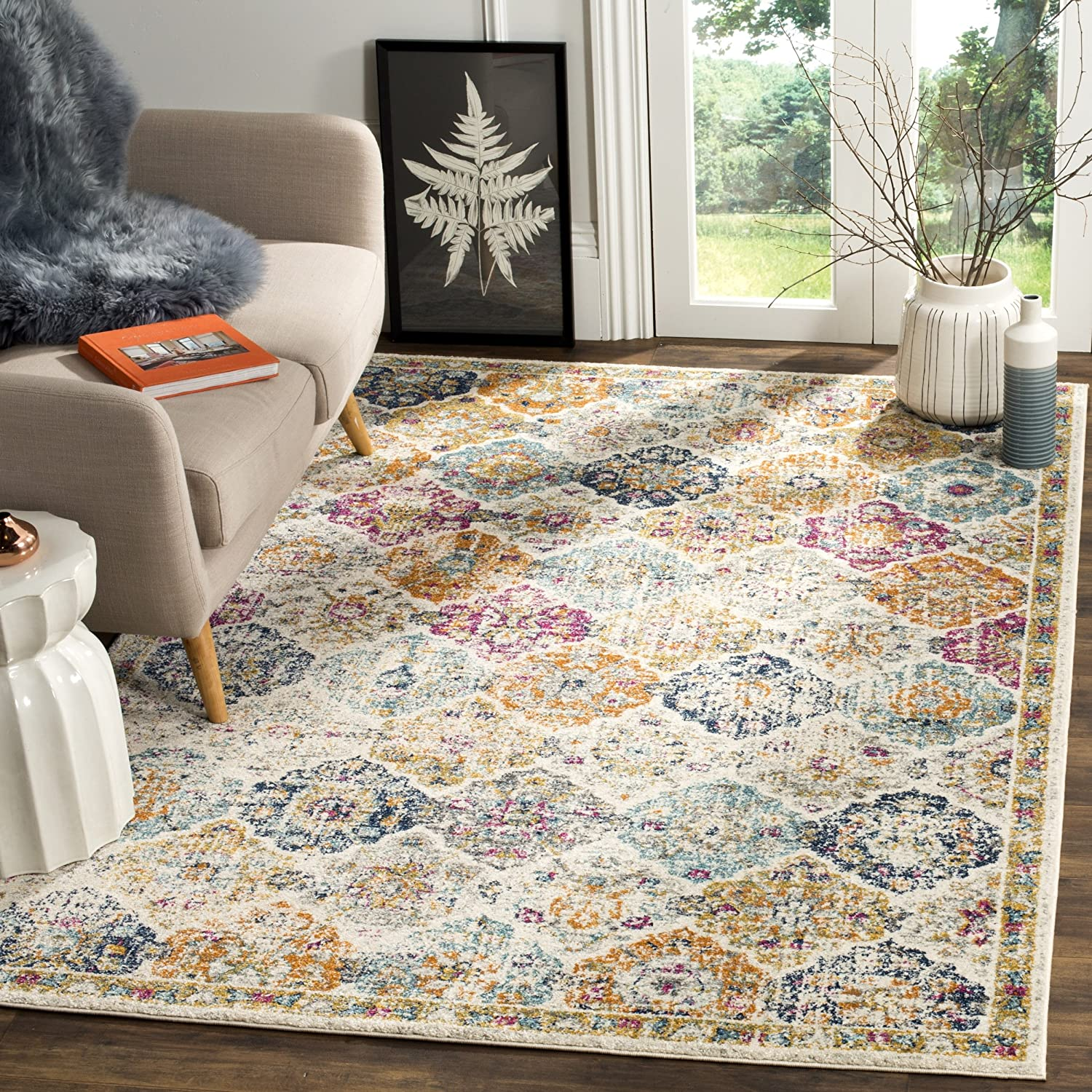 Safavieh Madison Collection MAD611B Cream and Multicolored Bohemian Chic Distressed Area Rug