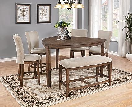 amazon com best quality furniture d872 6pc dining set peacan rh amazon com top quality dining room chairs high quality dining room chairs