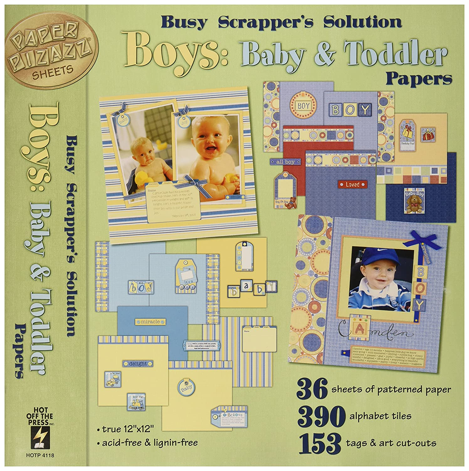 Hot Off The Press Pizazz Papers and Accents, 12x12-Inch, Boys: Baby and Toddler HFPPP-4118