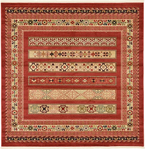 Unique Loom Fars Collection Tribal Modern Casual Rust Red Square Rug 8 0 x 8 0