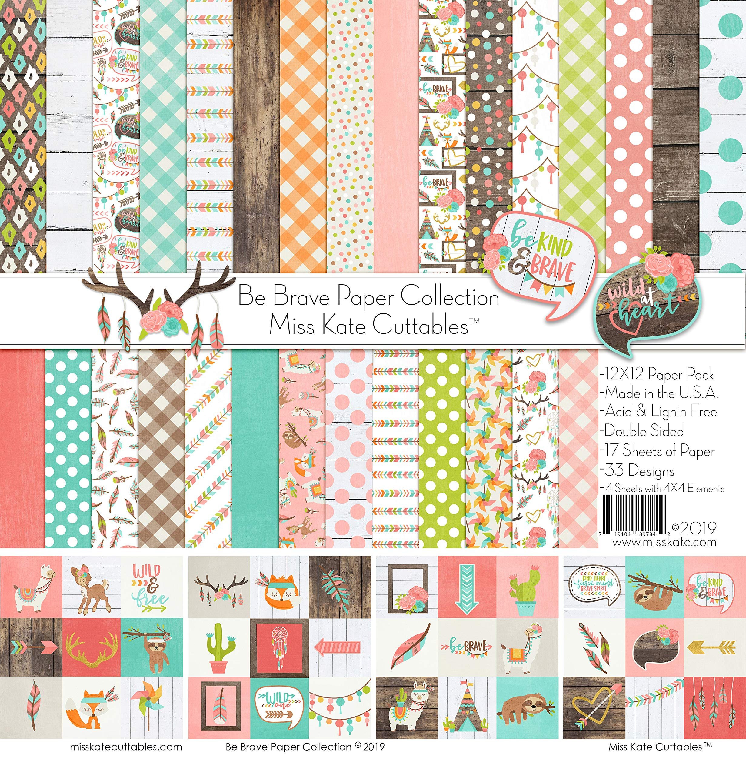 Pattern Paper Pack - Be Brave - 17 Double-Sided 12''x12'' Collection Includes 34 Patterns - Scrapbooking Card Making Crafting - by Miss Kate Cuttables
