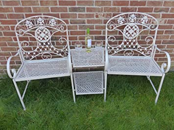 Exceptional UK Gardens Cream 2 Seater Loveseat Metal Garden Bench   2 Chairs With Table  Love