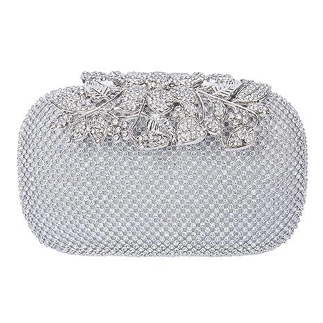 Baigio Bolso de Embrague Cartera De Mano Caja Dura para Fiesta Salida de Noche Elegante Diamante
