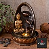Golden Buddha Prayer with Water Cups Indoor Water Fountain with LED Light   Size 23*23*30 Cm   3 Pin UK Plug Included  