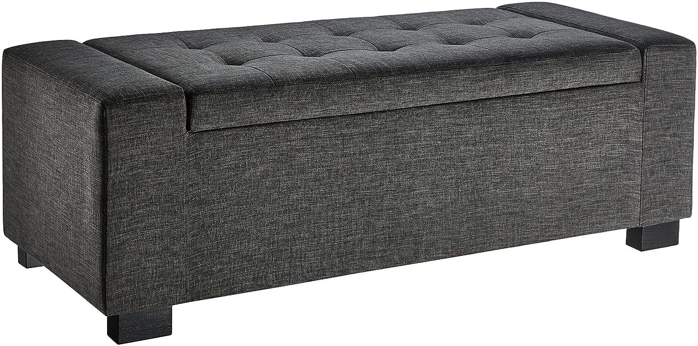 First Hill HRF0041SL Rectangular Storage Ottoman Bench, Large, Grey LTD WFO041SL