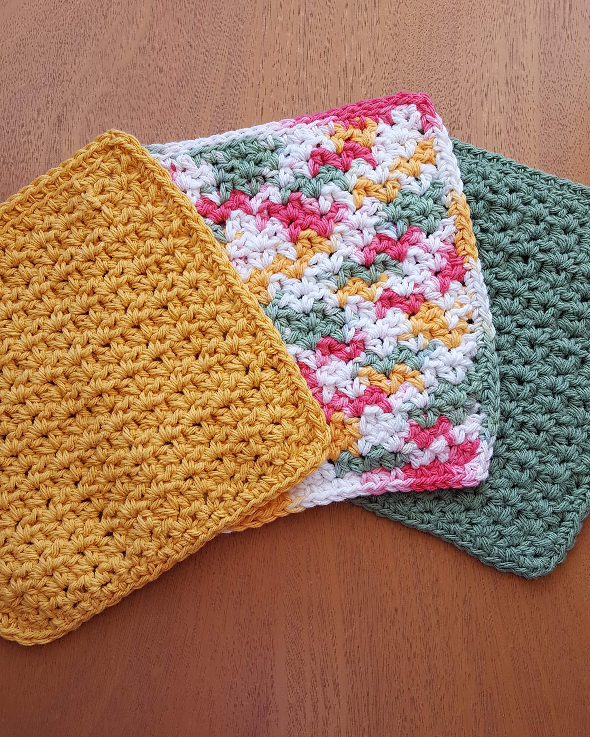Handmade crochet washcloths, dishcloths, rags or wipes 100% cotton set of 3 (7.5x7.5inch)