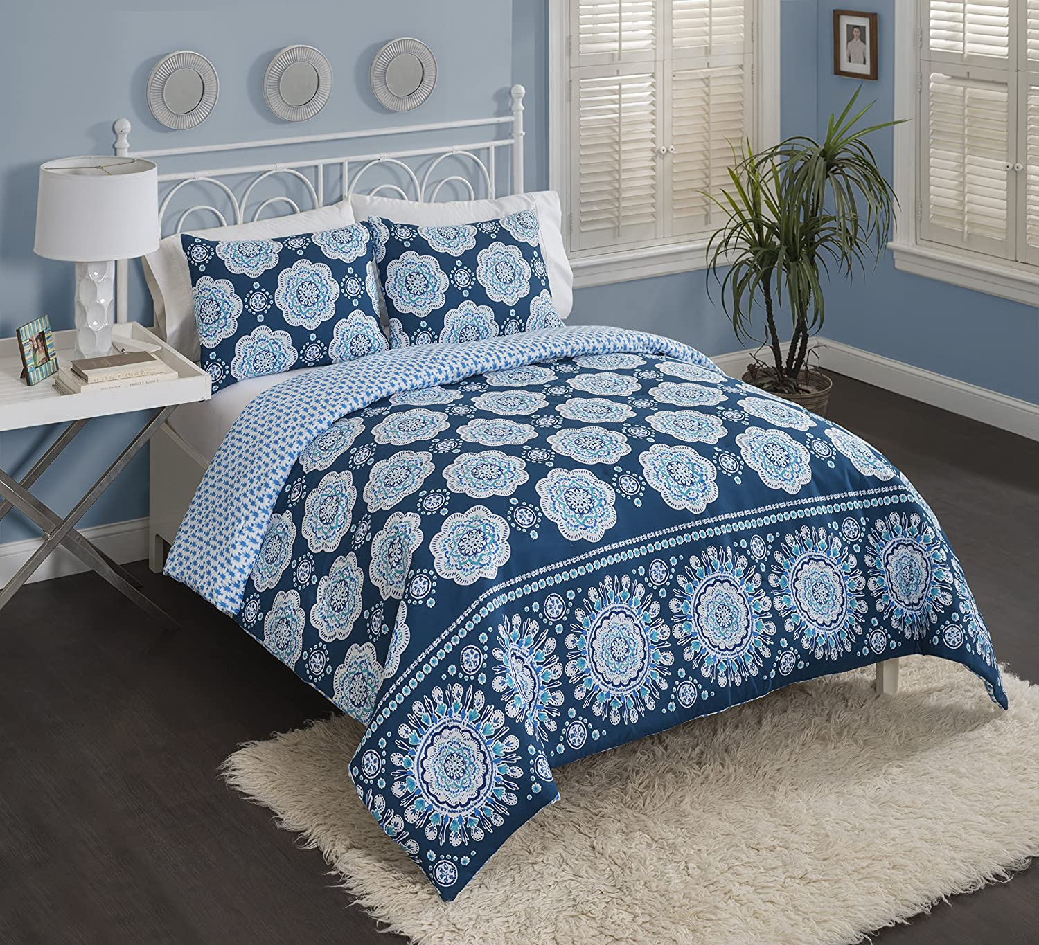 Multiple Sizes Reversible Cypress Ombre Coral//Blue King Bed in a Bag