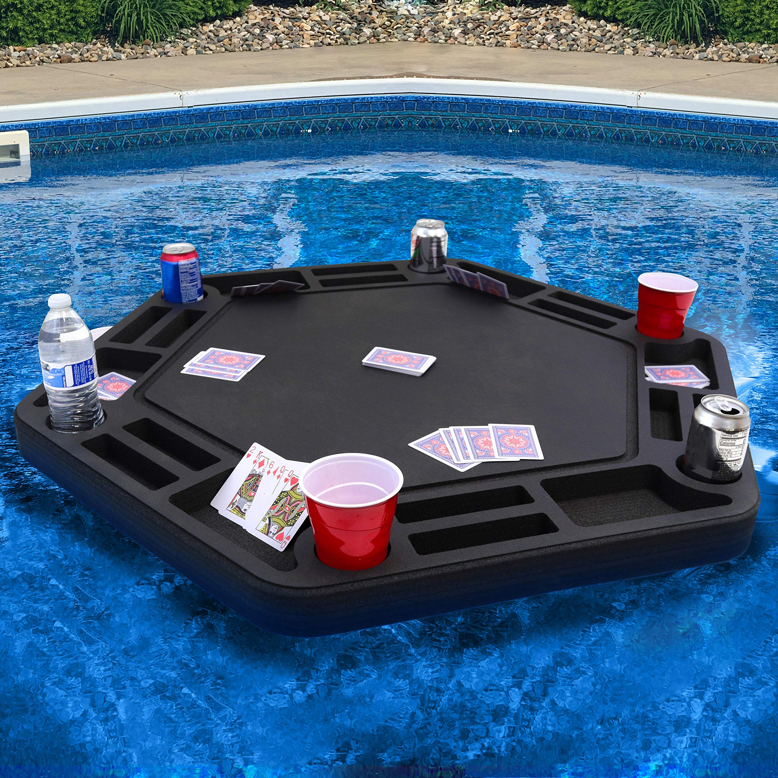 Polar Whale Floating Large Poker Table Game Tray for Pool or Beach Party Float Lounge Durable Foam 40.5 Inch Chip Slots Drink Holders with Waterproof Playing Cards Deck UV Resistant Made in USA by Polar Whale