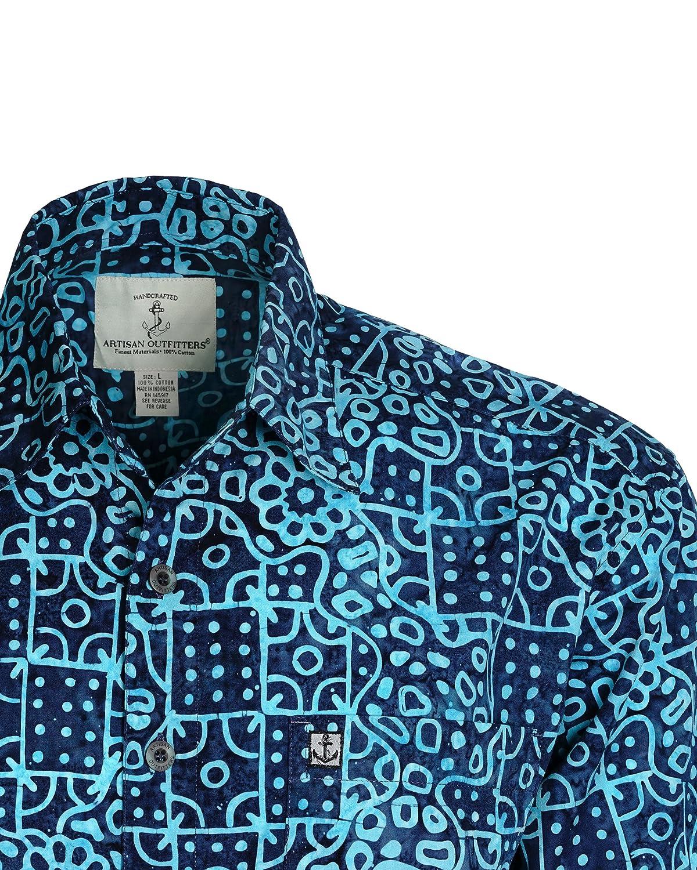Artisan Outfitters Mens Clear Water Batik Cotton Hawaiian Shirt