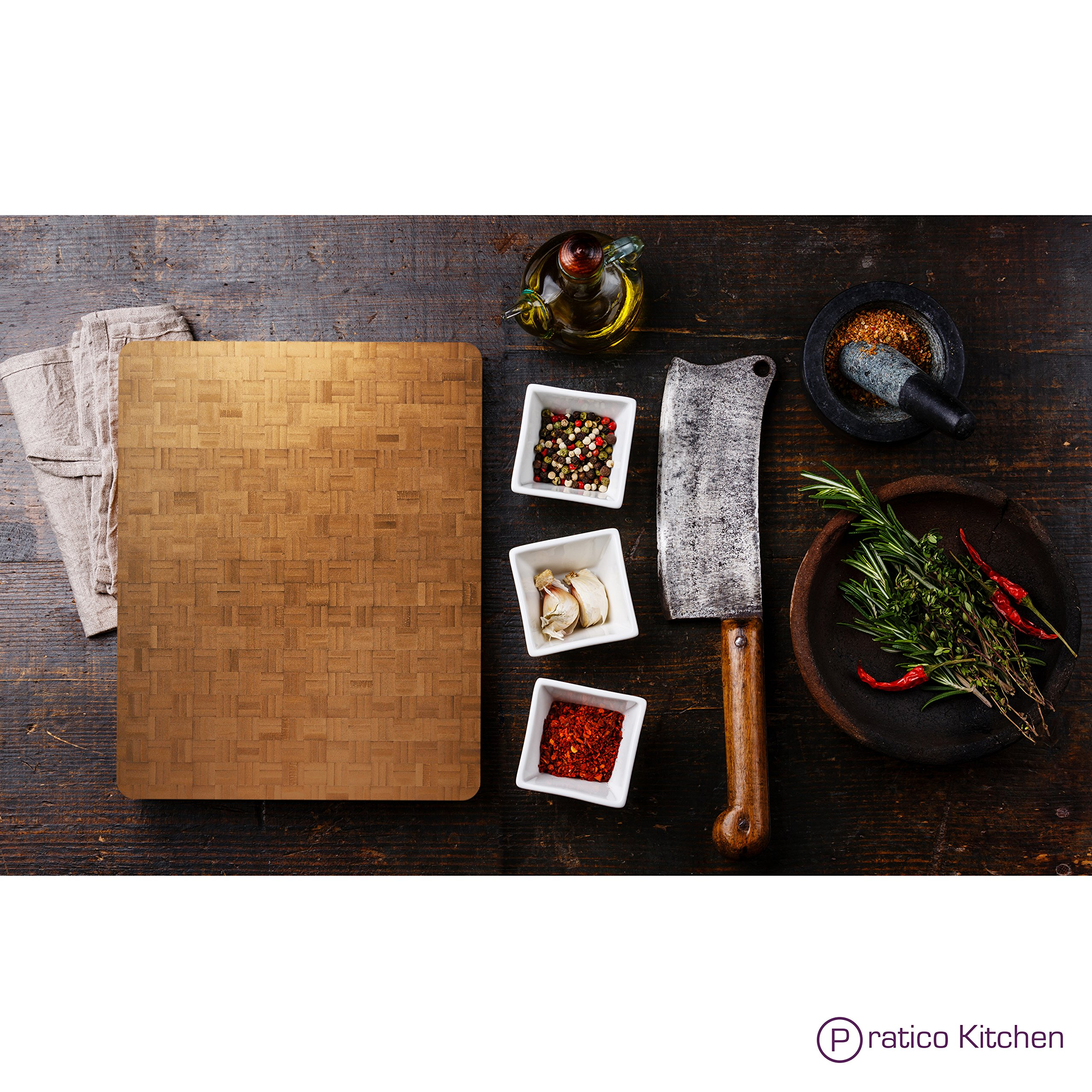 Pratico Kitchen Reversible Organic End Grain Butcher Chopping Block & Serving Tray - 16.5 x 13.5 x 2 inches by Pratico Kitchen (Image #5)