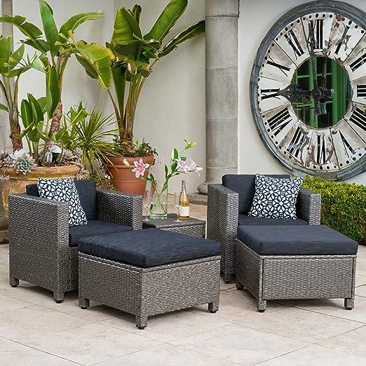 Venecia al aire libre mimbre muebles de jardín gris y negro sofá asiento juego de w/cojines: Amazon.es: Juguetes y juegos