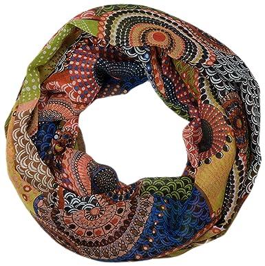 styleBREAKER Echarpe tube - Femme - Motif ethnique 01016014,  couleur orangé-vert 6f6f6ab5928