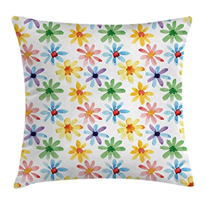 Amazon Com Ambesonne Floral Throw Pillow Cushion Cover Colorful