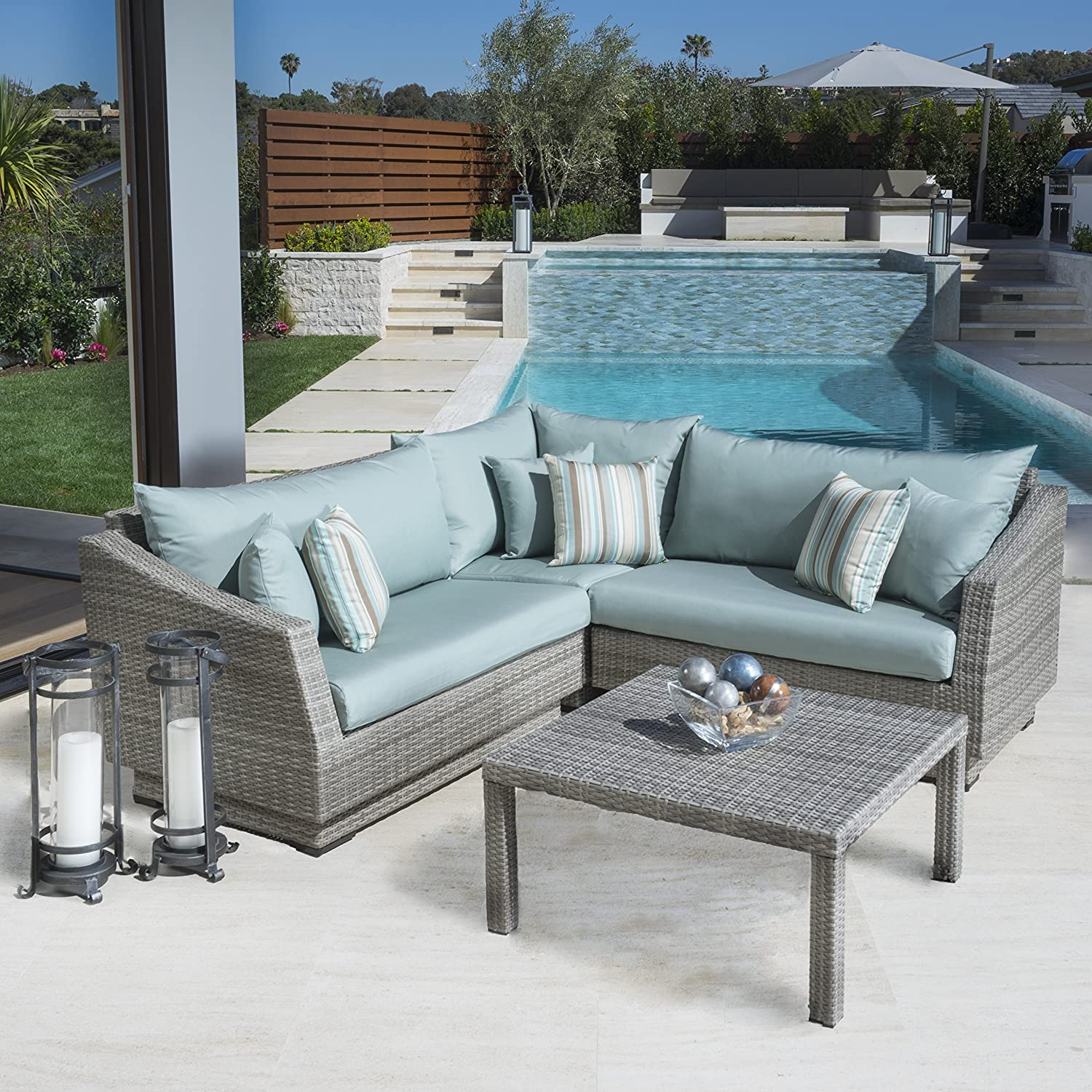 Amazon RST Brands 4 Piece Cannes Sectional and Conversation