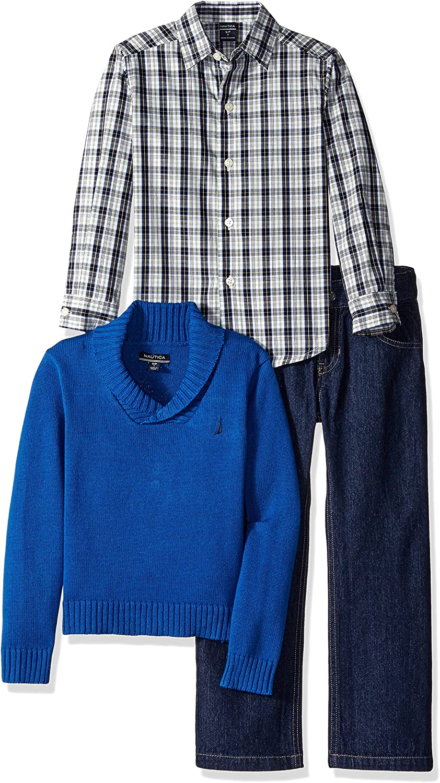 Baby Boy/'s Nautica 3 piece set /& Pants Shawl Sweater plaid shirt