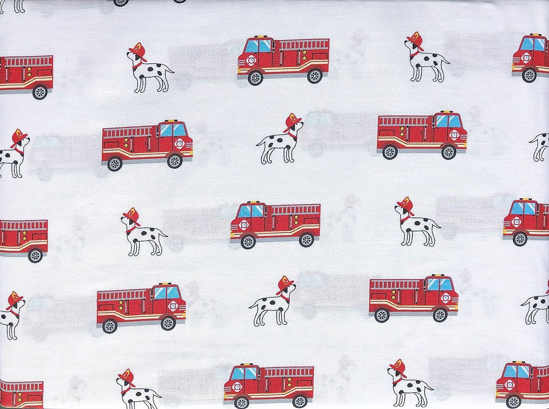 本物の子供用 3枚入りシーツセット 赤の消防車 白地に梯子付き 青い窓付き ダルメシアン犬 綿繻子(ツイン) B07QP2N3R3