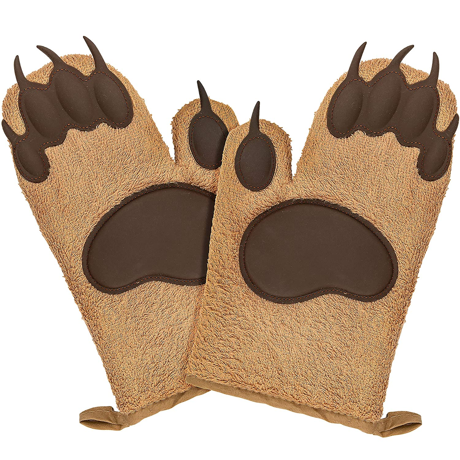 Fairly Odd Novelties FON-10278 Bear Oven Mitts Set Funny and Cute Kitchen Mittens/Potholders for Baking Christmas or Everyday Cooking Gloves, One Size Brown