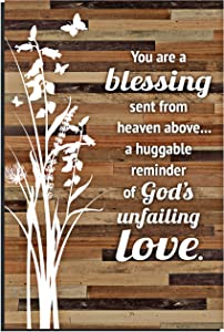 Lela & Ollie Blessing Wood Plaque with Words Quotes 6 x 9 Inch – Modern Vertical Wooden Rustic Frame Art Wall or Tabletop Decoration for Home and Office | You are a Blessing Sent from Heaven Sayings.