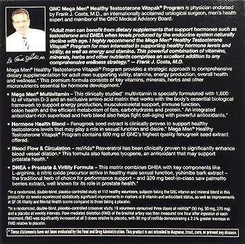 Amazon.com: GNC Mega Hombres Salud Testosterona Booster, 30 ...