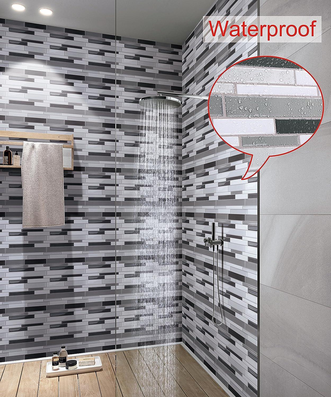 Wall Craft 3D Mosaik Fliesensticker Selbstklebend 10 Stück Für Küche Bad,  Vinyl Fliesenfolie Schwarz Weiss Grau ...