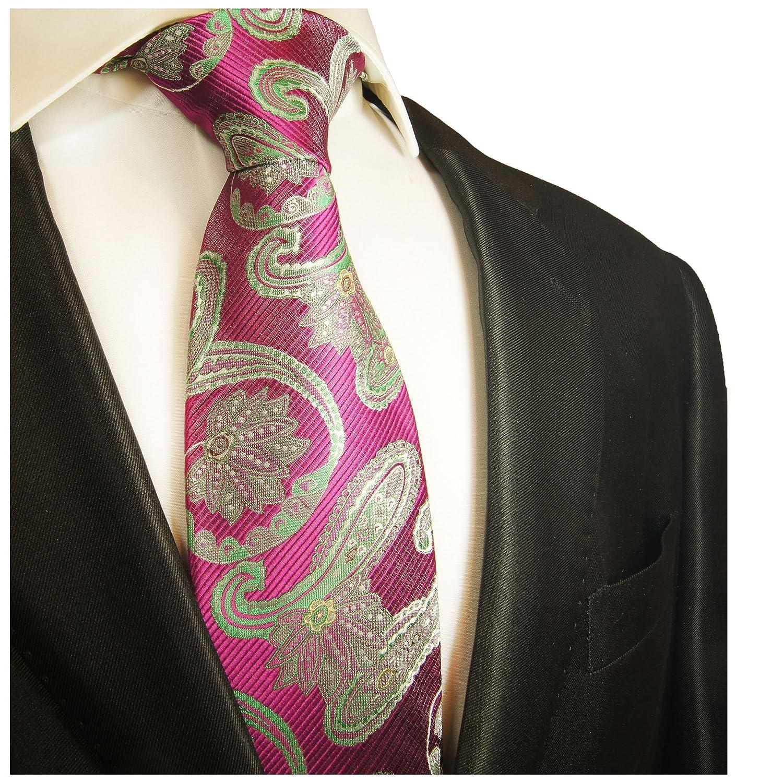 Paul Malone corbata de seda paisley verde rosa (Largo 165cm ...