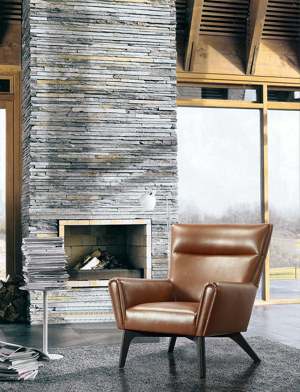 Ruhesessel *ADS* Pinie + MDF, Bezug Bezug recyceltes Leder/Kunstleder, Beine Gummibaum Bezug cognacfarbig, Beine dunkelbraunes Holz