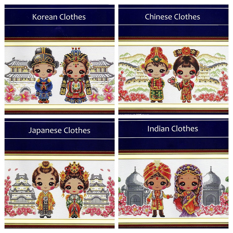 クロスステッチ 刺繍キット World Collection clothes 韓国 中国 和服とインドの服 14カウント白 35cm * 17cm* 4set B06XZ3PRZN
