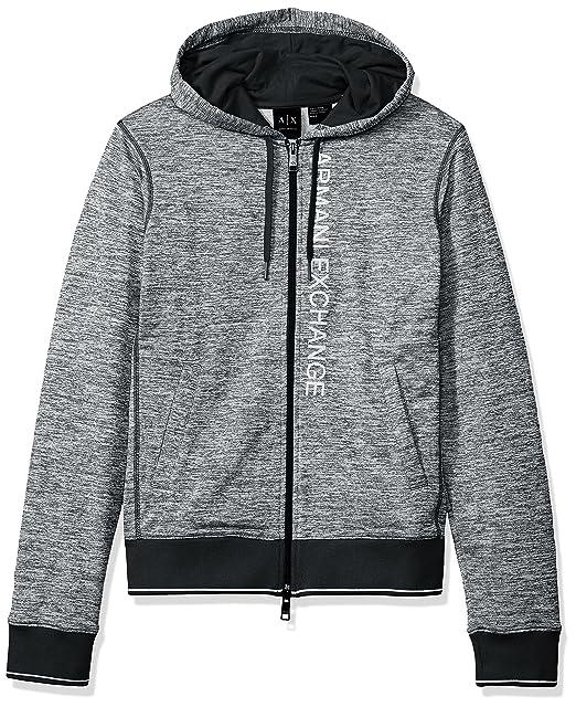 01c325aaac A|X Armani Exchange Men's Heathered Logo Full Zip Fleece Hoodie Grey ...