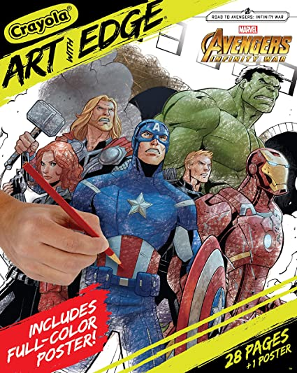 Crayola Marvel Avengers Coloring Pages Infinity War Art With Edge Adult Coloring 28 Pages 1 Poster