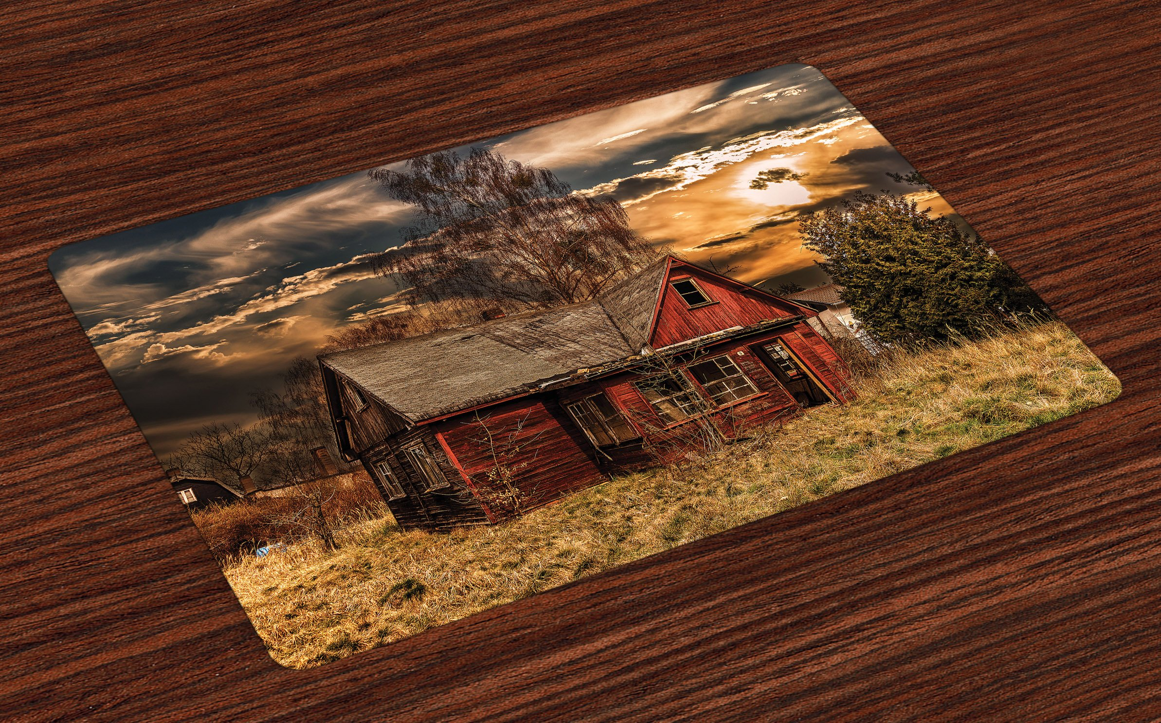 Ambesonne Scenery Place Mats Set of 4, Scary Horror Movie Themed Abandoned House in Pale Grass Garden Sunset Photo Print, Washable Fabric Placemats for Dining Room Kitchen Table Decor, Multicolor