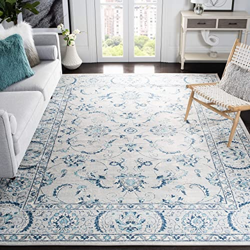Safavieh Brentwood Collection BNT854G Oriental Floral Scroll Non-Shedding Stain Resistant Living Room Bedroom Area Rug