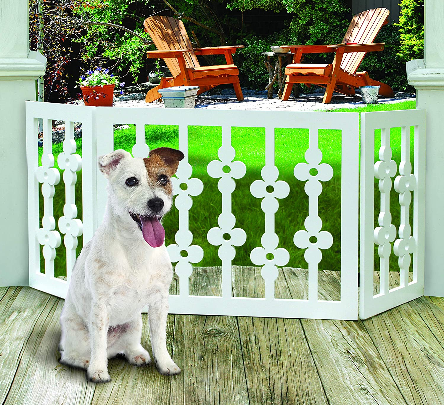 Etna White Floral Wooden Pet Gate – Freestanding Foldable Adjustable 3-Section Dog Gate. Extra Wide, Keeps Pets Safe Indoors Outdoors – Fully Assembled