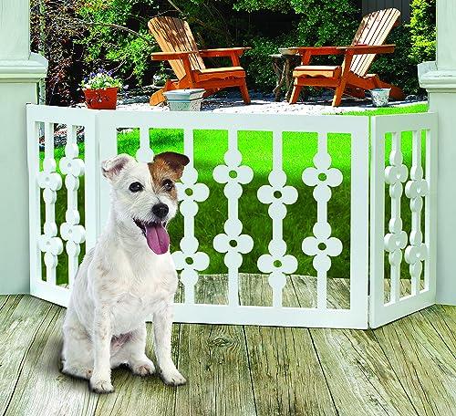 Etna White Floral Wooden Pet Gate – Freestanding Foldable Adjustable 3-Section Dog Gate. Extra Wide, Keeps Pets Safe Indoors Outdoors – Fully Assembled