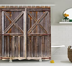 Ambesonne Rustic Shower Curtain, Old Wooden Barn Door of Farmhouse Oak Countryside Village Board Rural Life Photo Print, Fabric Bathroom Decor Set with Hooks, 70 inches, Brown