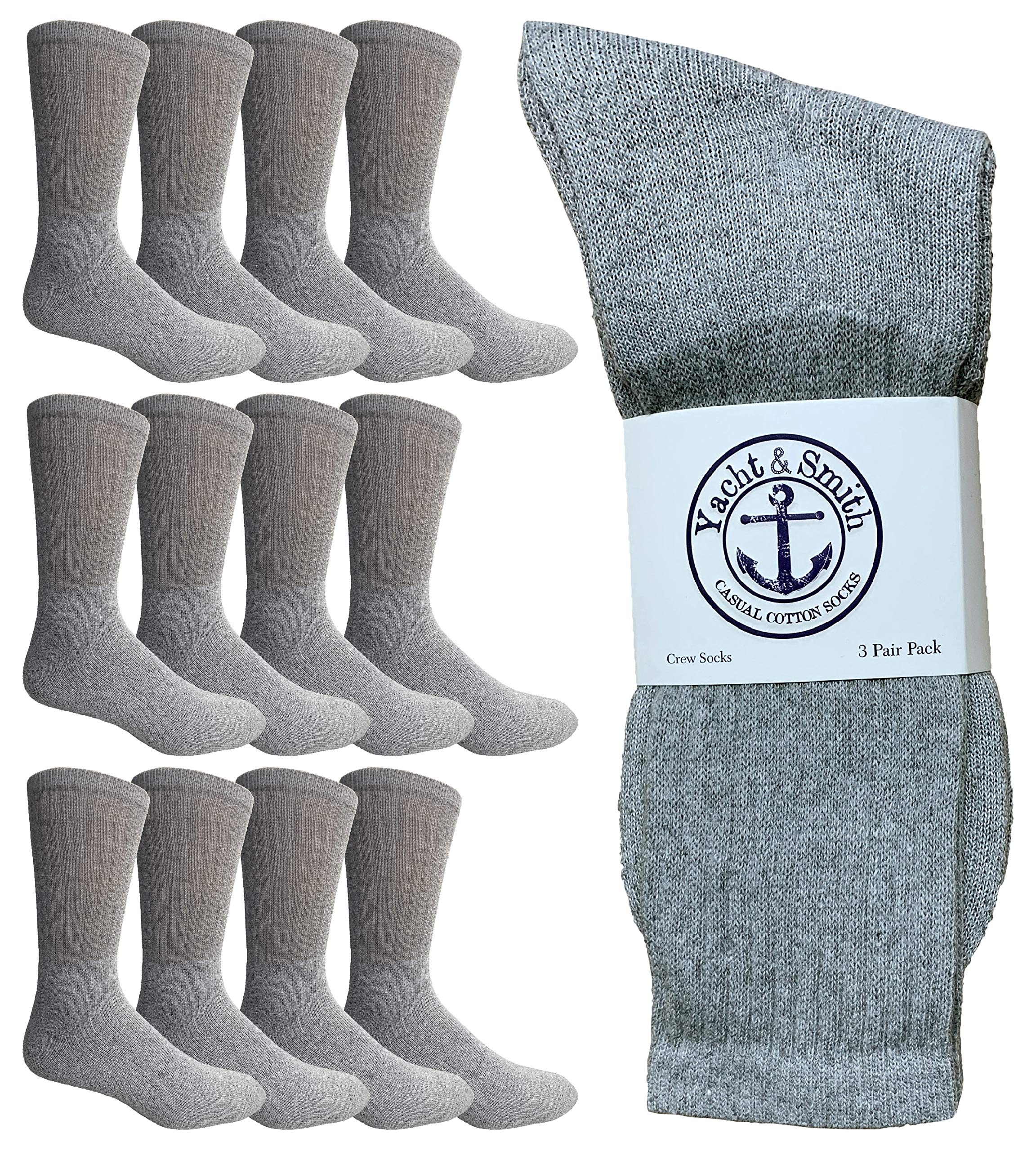 Yacht & Smith Wholesale Bulk Mens Crew Socks, Cotton Big And Tall Plus Size Socks Size 13-37 by Yacht & Smith