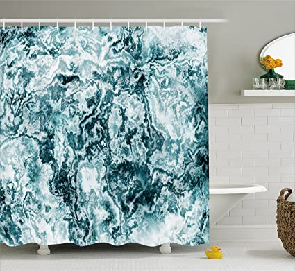 Ambesonne Marble Shower Curtain Abstract Rock Texture Modern Stylized Retro Splashes Antique Dark Design