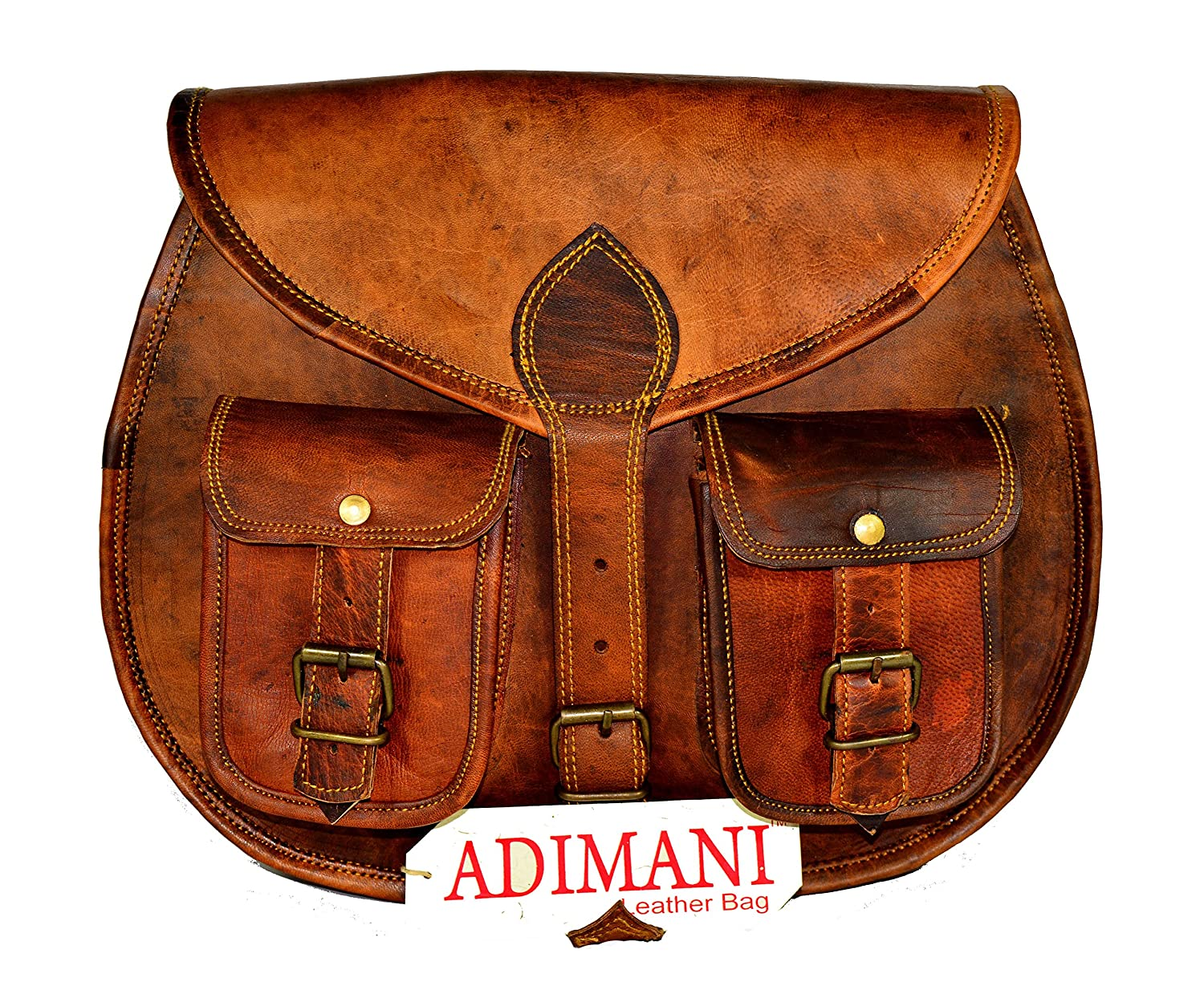 Adimani Vintage Handmade Leather Women Satchel Shoulder CrossBody Bag with Size13'' inches