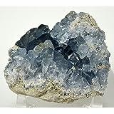 "HC Set: 3.3"" Rich Blue Celestite Druzy Freeform Natural Sparkling Mineral Geode Crystal Stone Cluster - Madagascar + One Polished Clear Quartz Cabochon"