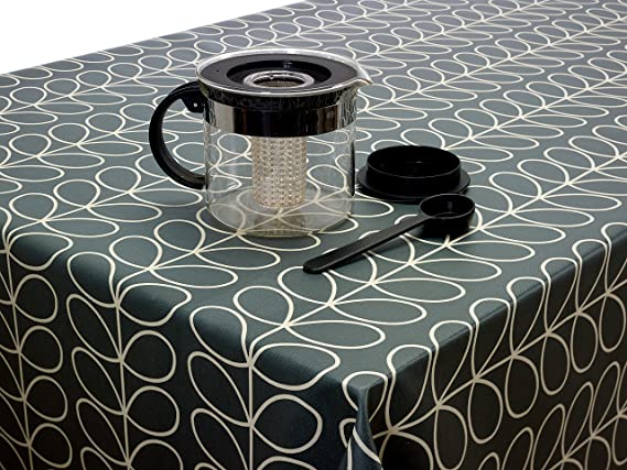 Piece Cool Grey Musbury Linear Stem PVC Fabric Wipe Clean Tablecloth Oilcloth By Orla Kiely 1 Metre 100cm