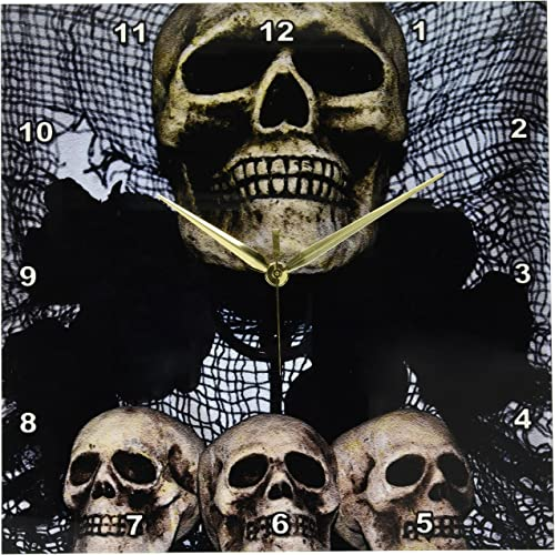 3dRose dpp_27275_2 The Skulls One Large Skull and Three Small-Wall Clock, 13 by 13-Inch