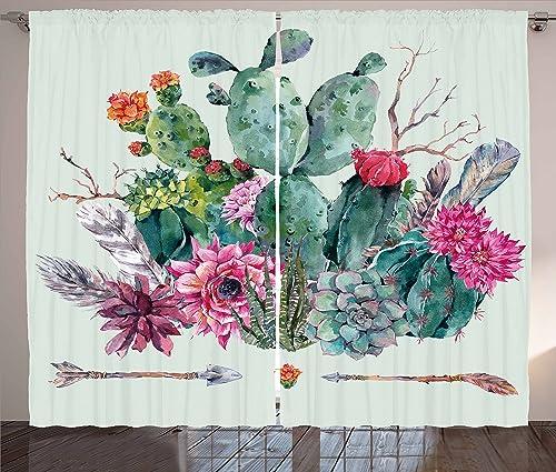 Ambesonne Cactus Curtain