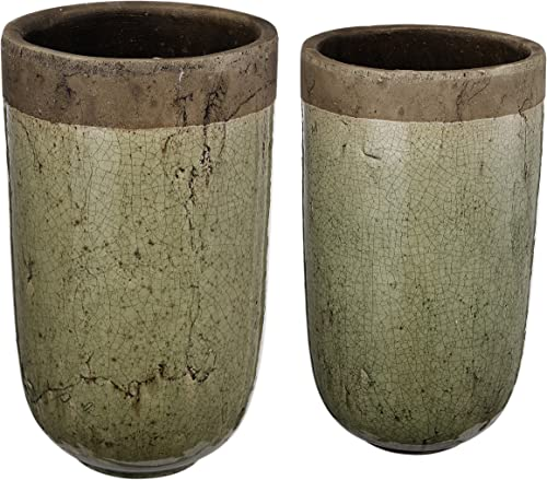 A B Home Earthen Ceramic Vase Planters, Set of 2