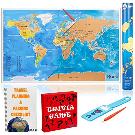 Amazon scratch off world map poster with outlined us states scratch off world map poster with outlined us states durable color world map for travelers gumiabroncs Choice Image