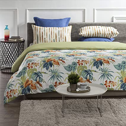 b5011b704befe A1 Home Collections A1HC Palm Oasis Reversible Print 100% Organic Cotton  Duvet Cover and Sham