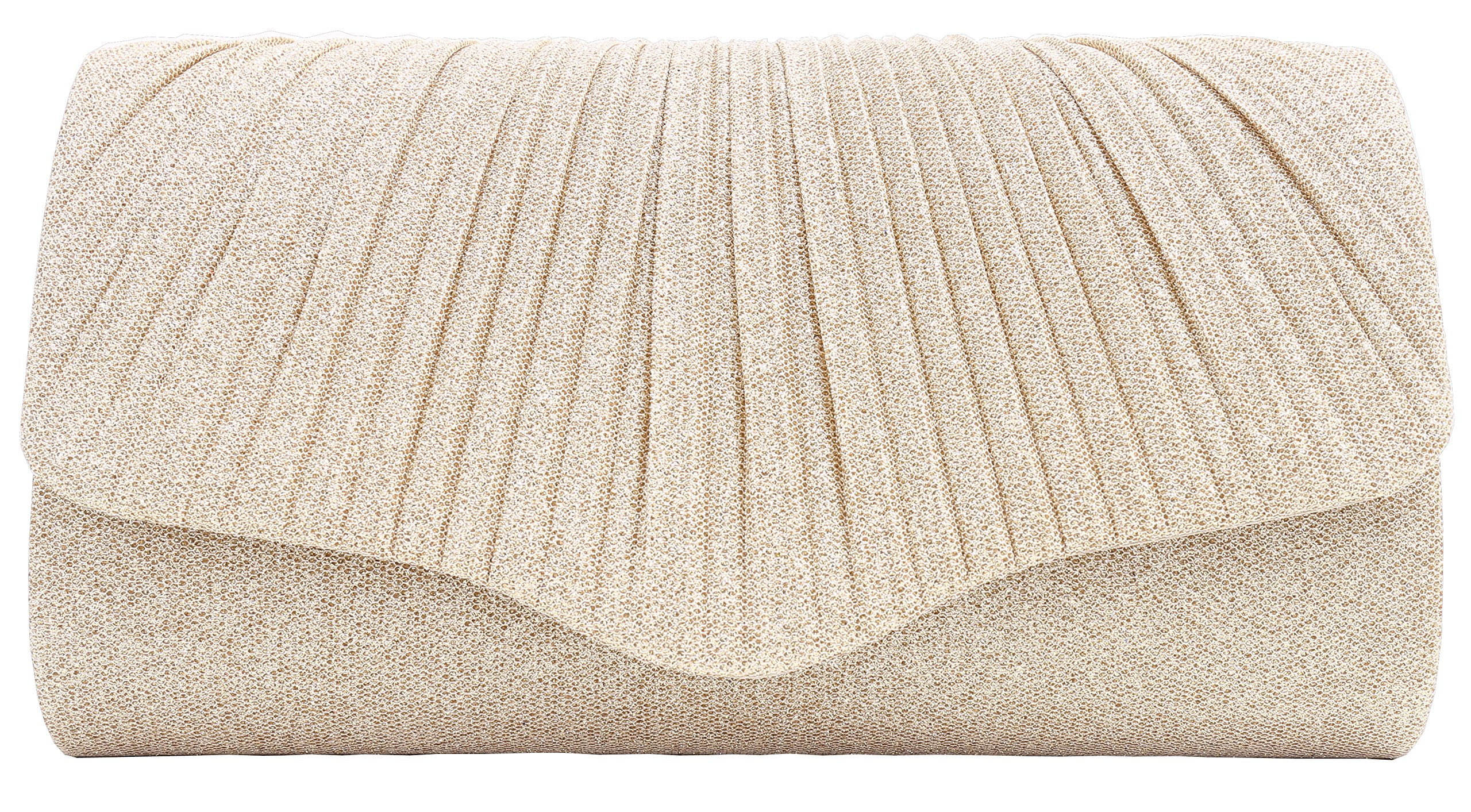 Pulama Glitter Clutch Pleated Purse for Wedding (Charming Champagne)