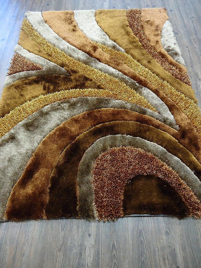 Amazon.com: Alfombra Color Café con Beige combination hecha a mano estilo moderno suave y lujosa , gruesa pila de tamaño 60
