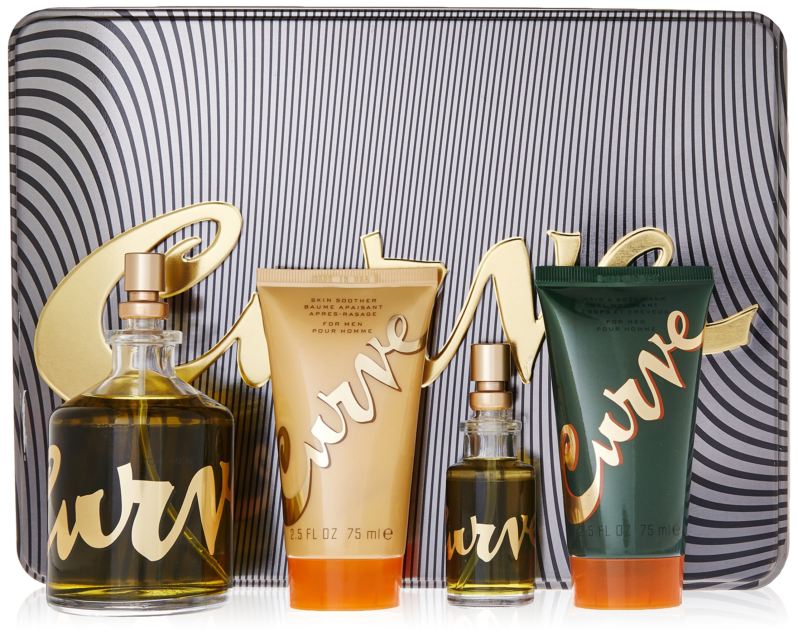 Liz Claiborne Curve Men Gift Set (Spray, Skin Soother, Hair and Body Wash)