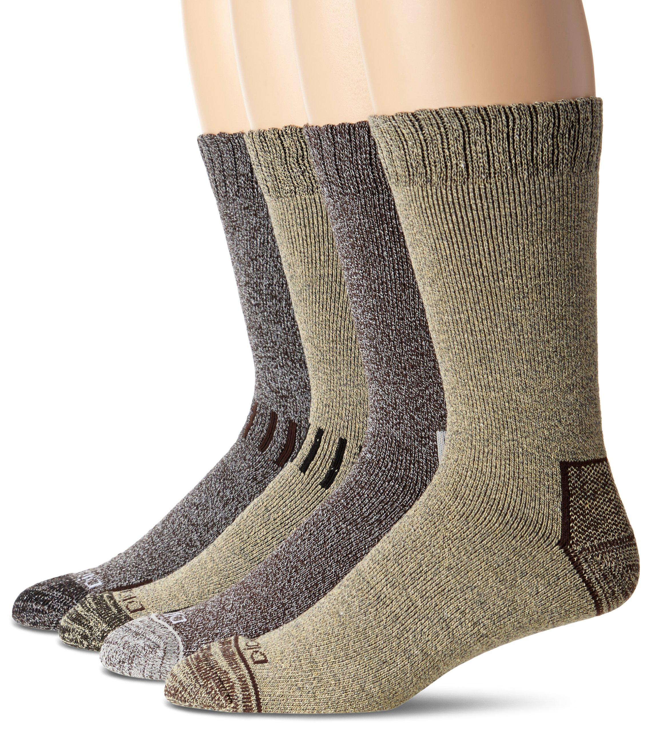 Dickies Men's Season Marled Moisture Control Crew Socks Multipack, Brown Assorted (4 Pack), Shoe Size: 6-12 by Dickies
